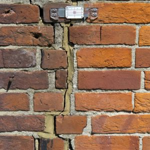 brick wall, cracked, movement tell-tale