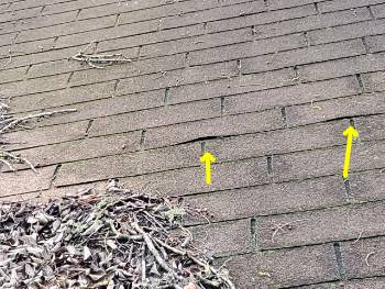 Roofing defects observed at a Magnolia home inspection service