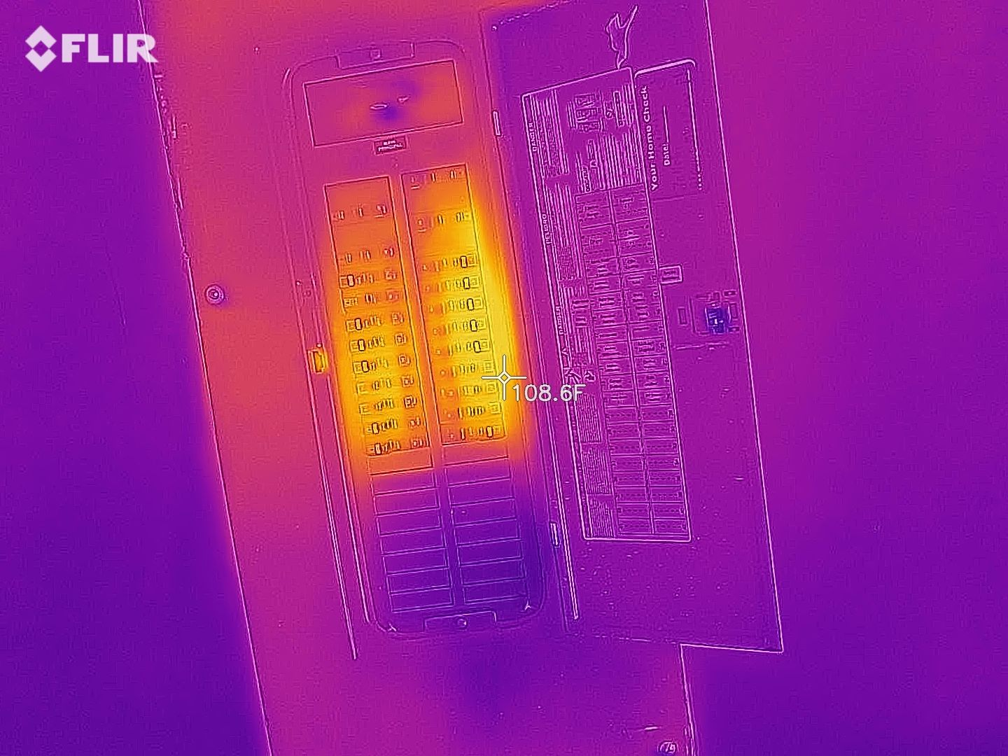 Thermal imaging scan of electrical service panel