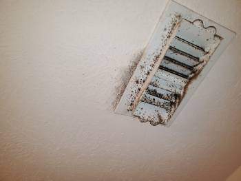 Mold like stains at supply registers can indicate a condensation problem leaky air ducts
